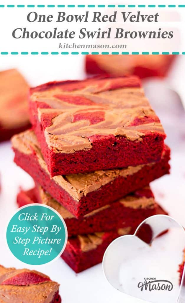 Red Velvet Chocolate Swirl Brownies | Valentines Day | One Bowl | Easy