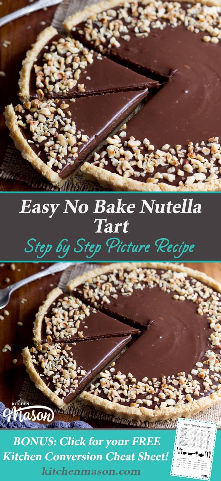 Easy No Bake Nutella Tart | Easy Dessert Recipes | No Bake Tart Recipes